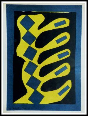 """(alt=""""lithography Henri MATISSE Yellow blue and black composition signed in the plate and printed by MOURLOT 1954, limited edition"""")"""