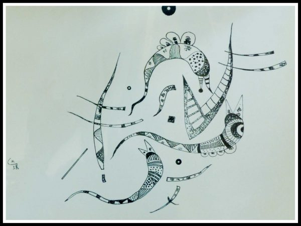 """(alt=""""lithography Wassily KANDINSKY Abstract composition, limited edition and printed by MOURLOT 1957"""")"""
