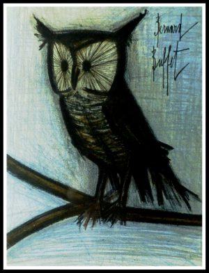 "(alt=""original lithography Bernard BUFFET le Hibou signed in the plate 1967"")"