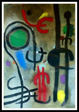 "(alt=""stencil Joan MIRO Personnage et oiseaux signed in the plate 1965"")"