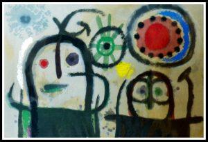 """(alt=""""stencil Joan Miro Femme en prière devant le soleil 1965"""")"""
