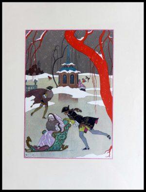 """(alt=""""original lithography Georges BARBIER La patinoire art deco period 1928"""")"""