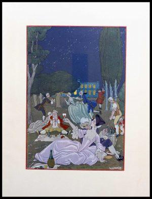 "(alt=""original lithography Georges BARBIER, balade nocturne, art deco 1928"")"