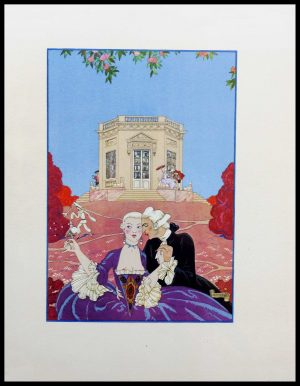"""(alt=""""original lithography Georges BARBIER, le kiosque galant, art deco 1928"""")"""