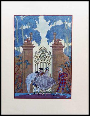"(alt=""original lithography Georges BARBIER, Arlequin or Pierrot, art deco 1928"")"
