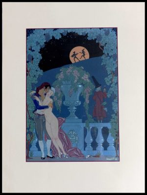 """(alt=""""original lithography Georges BARBIER flir au clair de lune art deco period 1928"""")"""
