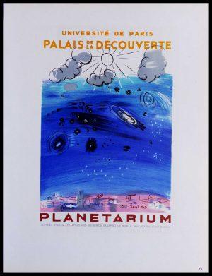 """(alt=""""lithography Raoul DUFY Planétarium Palais de la découverte signed in the plate 1959"""")"""