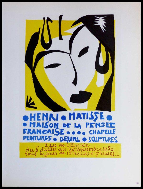 """(alt=""""Lithography Henri MATISSE Maison de la pensée française 1959)"""