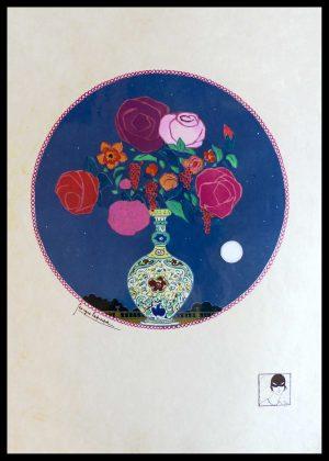 """(alt=""""original lithography Georges LEPAPE bouquet de fleurs art deco signed in the plate 1911"""