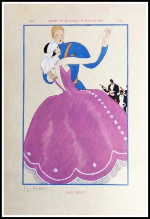 """(alt= """"Original lithography stencil Georges LEPAPE art deco Modes et Manières d'Aujourd'hui1919"""")"""