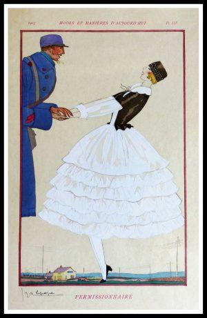 """(alt= """"Original lithography stencil Georges LEPAPE art deco 1915"""")"""