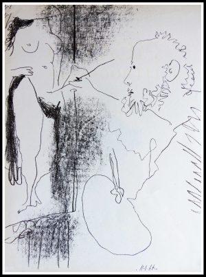 """(alt=""""original lithography PICASSO peintre et son modèle 1964"""")"""