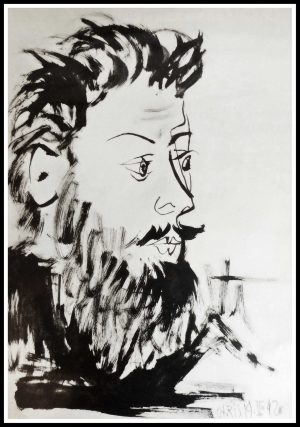 """(alt=""""lithography PICASSO Portrait black and white 1957"""")"""