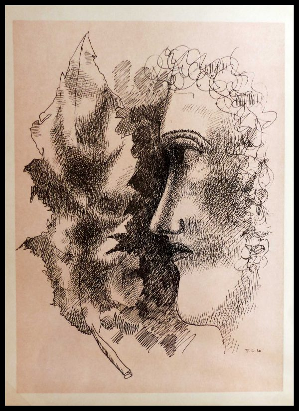 """(alt=""""Lithography Fernand LEGER tête et feuille signed in the plate 1939"""")"""