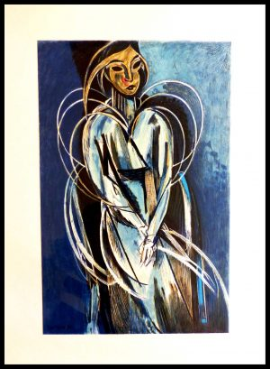 """(alt=""""lithography Henri MATISSE cubist portrait signed in the plate 1954"""")"""