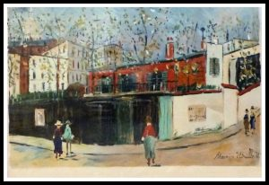 """(alt=""""stencil Maurice UTRILLO Montmartre signed in the plate 1959"""")"""