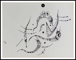 """(alt=""""quadrichromie KANDINSKY noir et blanc 31,5 x 24.5 cm 1957 Imp Mourlot 1500 exemplaires"""")"""