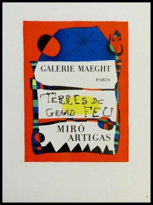 """(alt=""""lithography Joan MIRO Terres de Feu Miro Artigas Galerie Maeght 1959"""")"""