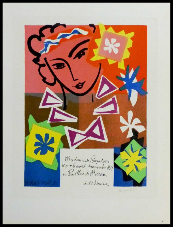 "(alt=""lithography Henri MATISSE Madame de Pompadour signed in the plate 1959"")"