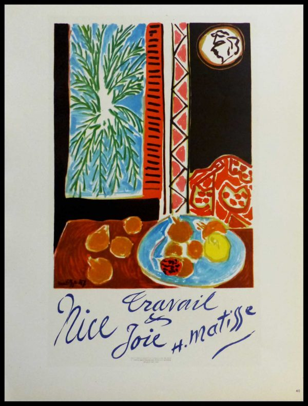 """(alt=""""lithography Henri MATISSE Nice Joie Travail signed in the plate 1959"""")"""