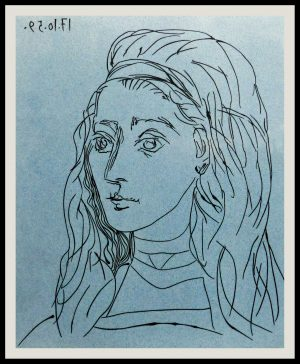 """(alt=""""linocut Pablo PICASSO Jacqueline dated in the plate1962"""")"""