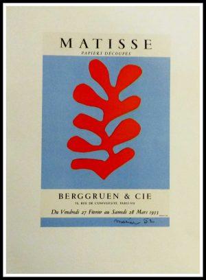 "(alt=""Lithography Henri MATISS papiers découpés berggruen & Cie signed in the plate 1959"")"