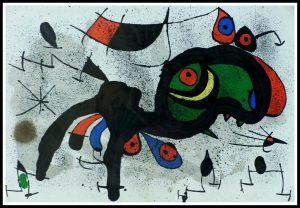 "(alt=""original lithography joan MIRO le bélier fleuri Maeght Paris 1970"")"