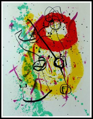 """(alt=""""original abstract lithography MIRO, composition, printed by MOURLOT, 1961, Limited edition"""")"""