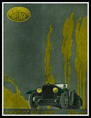 """(alt=""""original vintage advertising car from newspaper voiture DELAGE signed Henri LEBOEUF 1919"""")"""