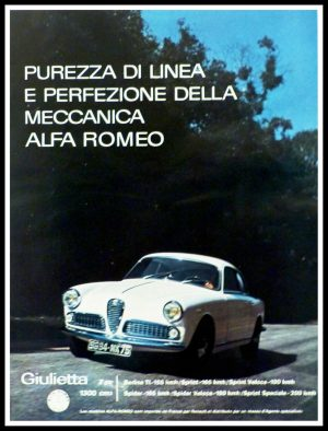 "(alt=""original vintage advertising car from newspaper ALFA ROMEO Giulietta Anonymous 1950"")"