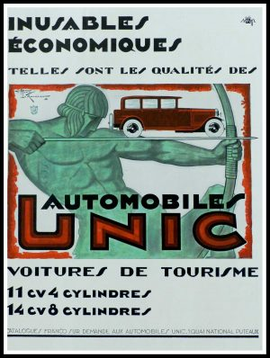 "(alt=""original vintage advertising car UNIC signed Henri LEMONNIER 1927"")"