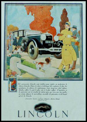 """(alt=""""original vintage advertising car LINCOLN signed René VINCENT 1928"""")"""
