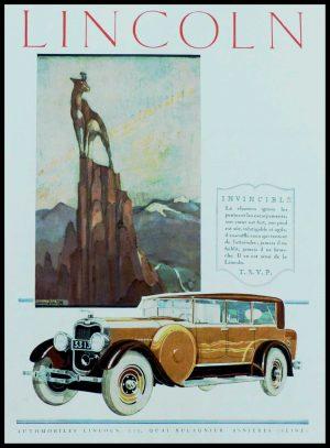 "(alt=""original vintage advertising car from newspaper Automobiles LINCOLN signed Renée JULLIEN 1928"")"