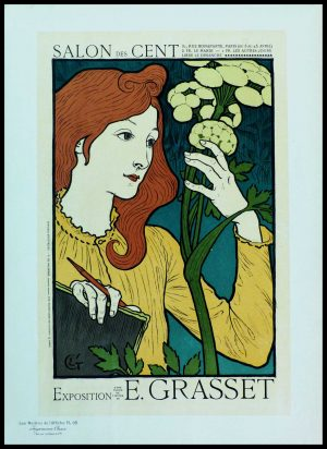 "(alt=""original lithography from Masters of poster plate 98, Salon des cent rue bonaparte Paris, signed Eugène GRASSET printed by CHAIX 1898"")"