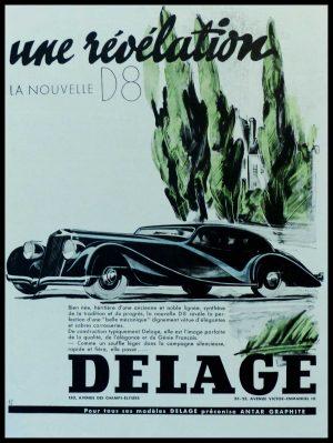 "(alt=""original vintage advertising car from newspaper DELAGE une révélation la nouvelle D8 signed RENLUC 1936"")"