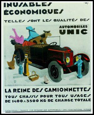 "(alt=""Original vintage advertising car Automobiles UNIC Jean A. MERCIER 1928"")"