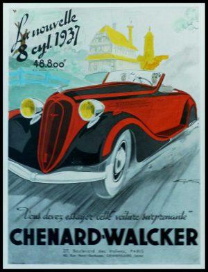 """(alt=""""original vintage advertising car CHENARD-WALKER, signed Géo HAM 1937"""")"""