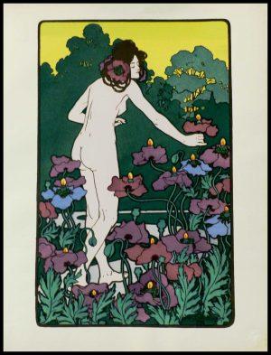 "(alt=""original lithography from l'Estampe Moderne Hans CHRISTIANSEN art nouveau period l'Heure du Berger 1898"")"
