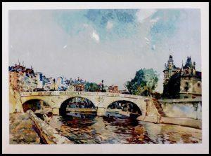 """(alt=""""héliogravure René KUDER, bridges of PARIS, Change bridge signed in the plate, limited edition 60 exemplars printed by LAHURE 1946"""")"""