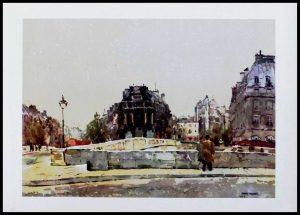 """(alt=""""heliogravure René KUDER - Brigdes of PARIS, Saint-Michel bridge, signed in the plate limited edition 1946"""")"""