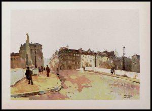 """(alt=""""héliogravure René KUDER, bridges of PARIS, la tournelle bridge, signed in the plate, limited edition, 1946 printed by LAHURE"""")"""