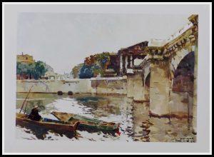 """(alt=""""héliogravure René KUDER, bridges of PARIS, Concorde bridge, signed in the plate, limited edition, printed by LAHURE 1946"""")"""
