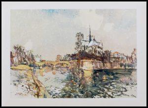 """(alt=""""héliogravure René KUDER, Bridges of PARIS, the archbishop's bridge NOTRE DAME, signed, limited edition, printed by LAHURE"""")"""