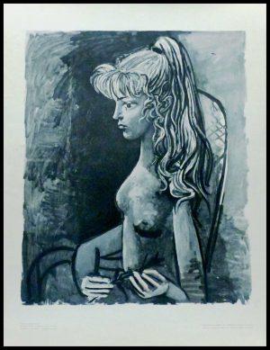 """(alt=""""lithography Pablo PICASSO, Sylvette au Fauteuil 1975 printed by Imprimerie du Lion, Edition Cercle d'art"""")"""
