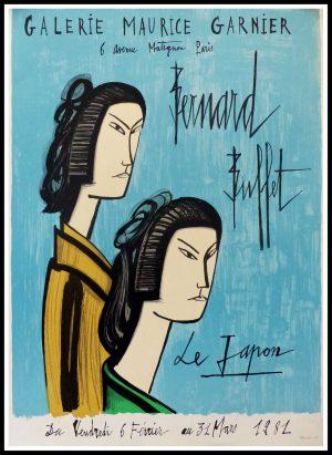 "(alt=""Bernard BUFFET - Maurice Garnier Japan, original vintage poster lithography, signed in the plate, printed by MOURLOT 1981"")"
