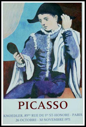 "(alt=""original lithography Pablo PICASSO, Galerie KNOEDLER Paris, Arlequin au miroir 1971, lithography on linen printed by MOURLOT"")"