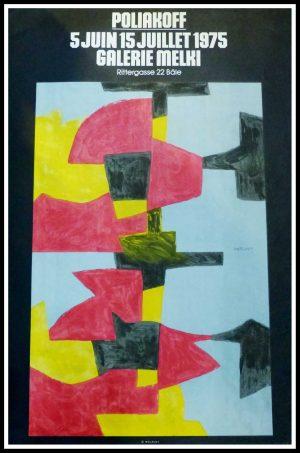 "(alt=""original vintage poster Serge POLIAKOFF Galerie MELKI Bale, signed in the plate printed by MOURLOT 1975"")"