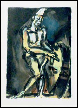 """(alt=""""original stencil Georges ROUAULT 1959 le clown musicien signed in the plate Editions d'Art du Lion printed by Daniel JACOMET Paris"""")"""