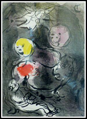 """(alt=""""lithography Marc CHAGALL, Bible le prophète Daniel avec les lions 1956, printed by MOURLOT Limited edition"""")"""
