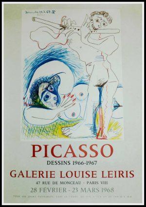 "(alt=""original vintage poster lithography Pablo PICASSO Galerie Louise LEIRIS 1968 printed by Mourlot PARIS"")"